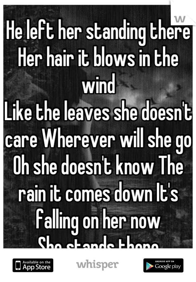 He left her standing there  Her hair it blows in the wind  Like the leaves she doesn't care Wherever will she go  Oh she doesn't know The rain it comes down It's falling on her now  She stands there