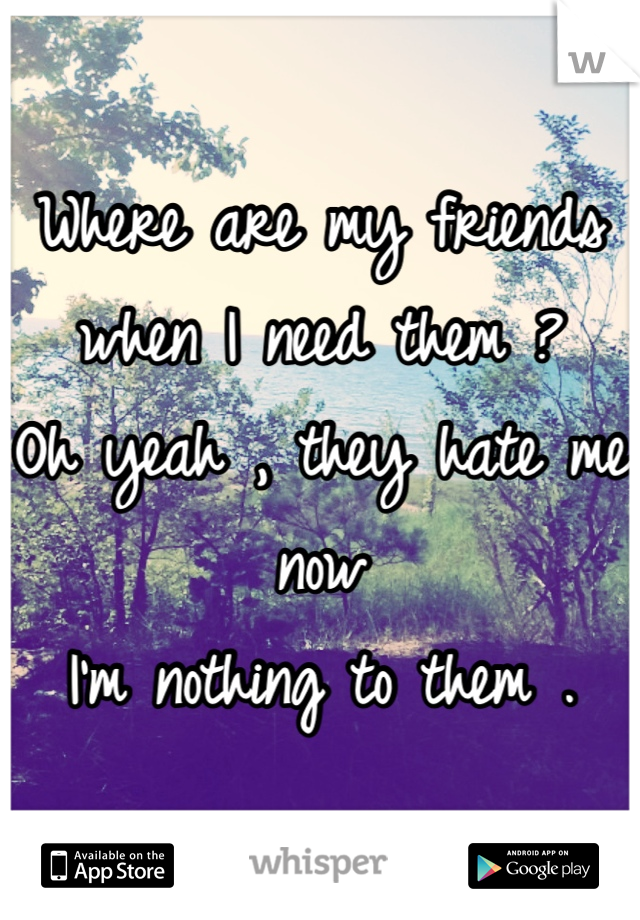Where are my friends when I need them ?  Oh yeah , they hate me now  I'm nothing to them .