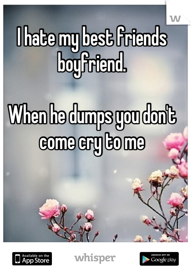 I hate my best friends boyfriend.  When he dumps you don't come cry to me