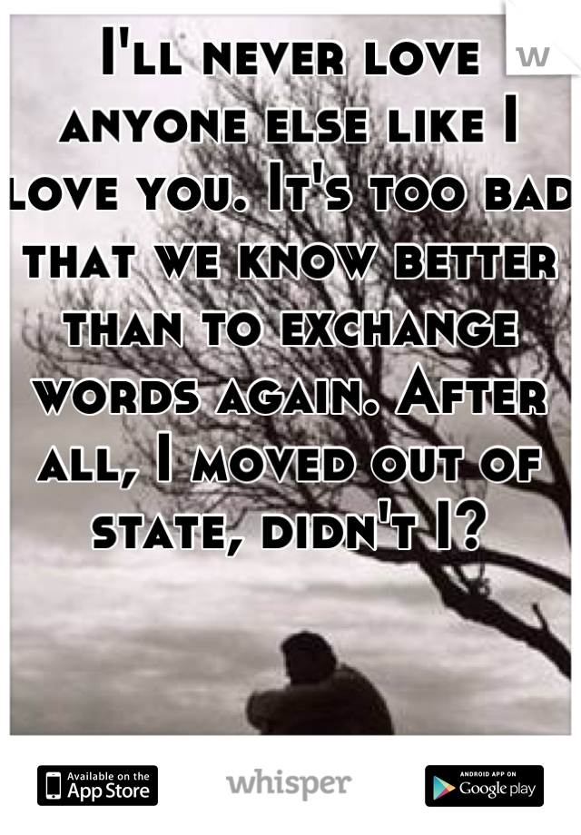 I'll never love anyone else like I love you. It's too bad that we know better than to exchange words again. After all, I moved out of state, didn't I?