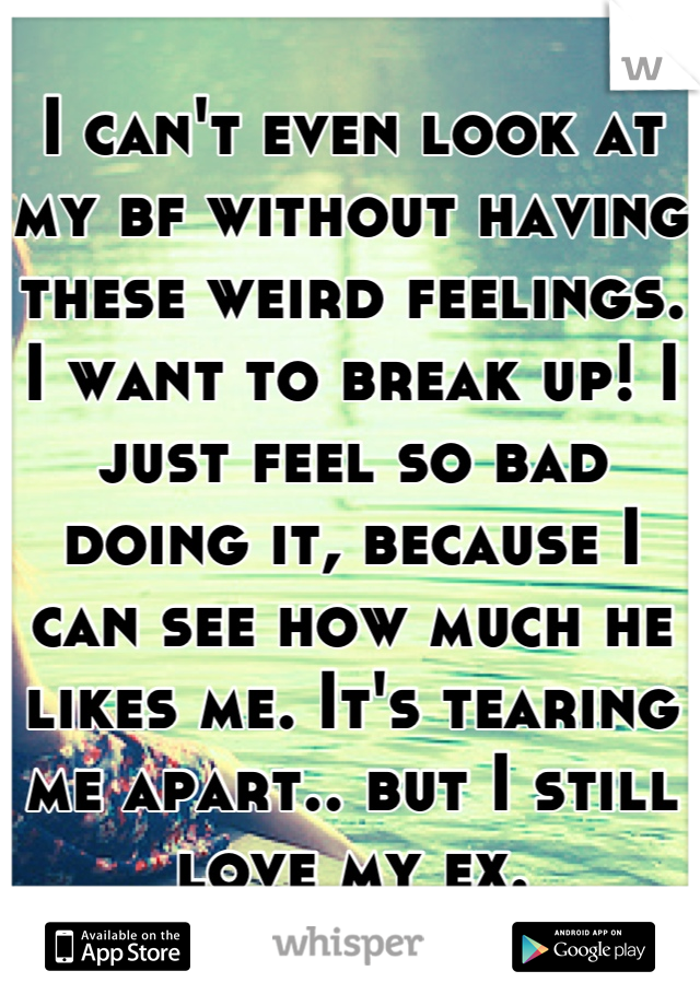 I can't even look at my bf without having these weird feelings. I want to break up! I just feel so bad doing it, because I can see how much he likes me. It's tearing me apart.. but I still love my ex.