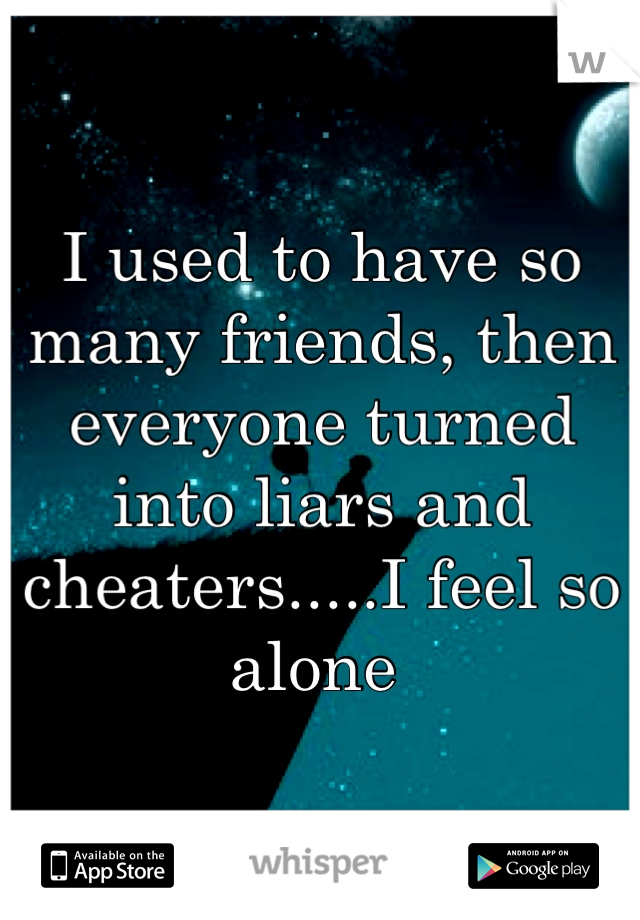 I used to have so many friends, then everyone turned into liars and cheaters.....I feel so alone