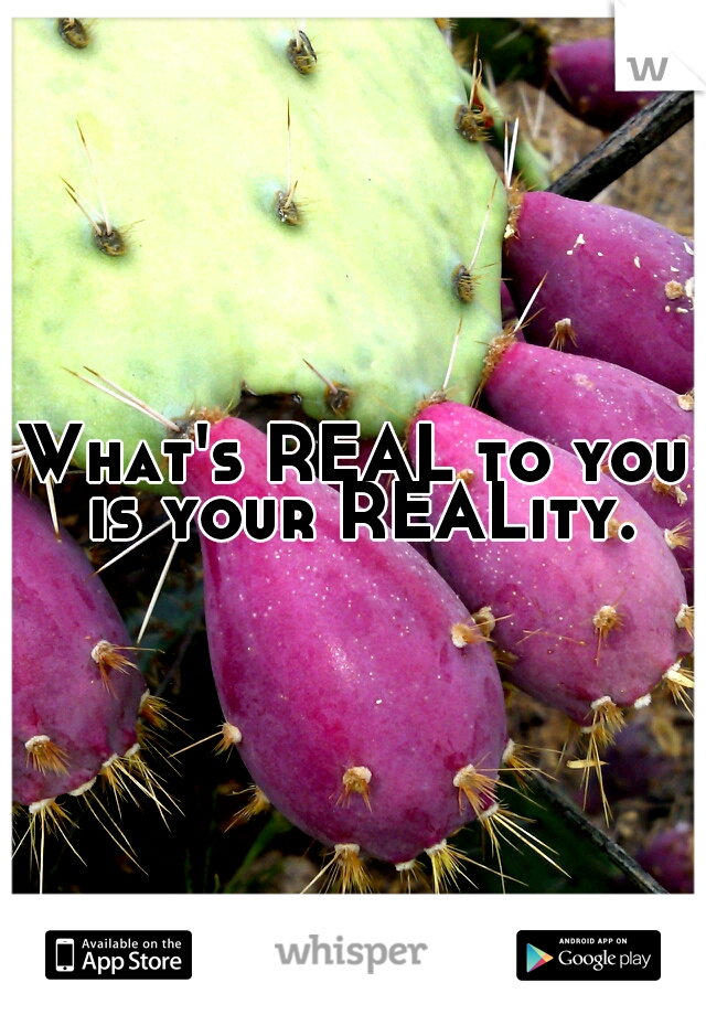 What's REAL to you is your REALity.
