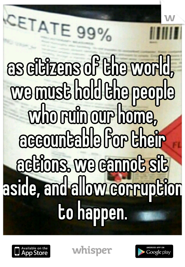 as citizens of the world, we must hold the people who ruin our home, accountable for their actions. we cannot sit aside, and allow corruption to happen.