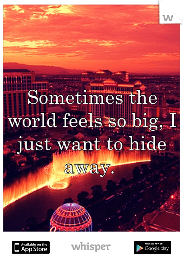 Sometimes the world feels so big, I just want to hide away.