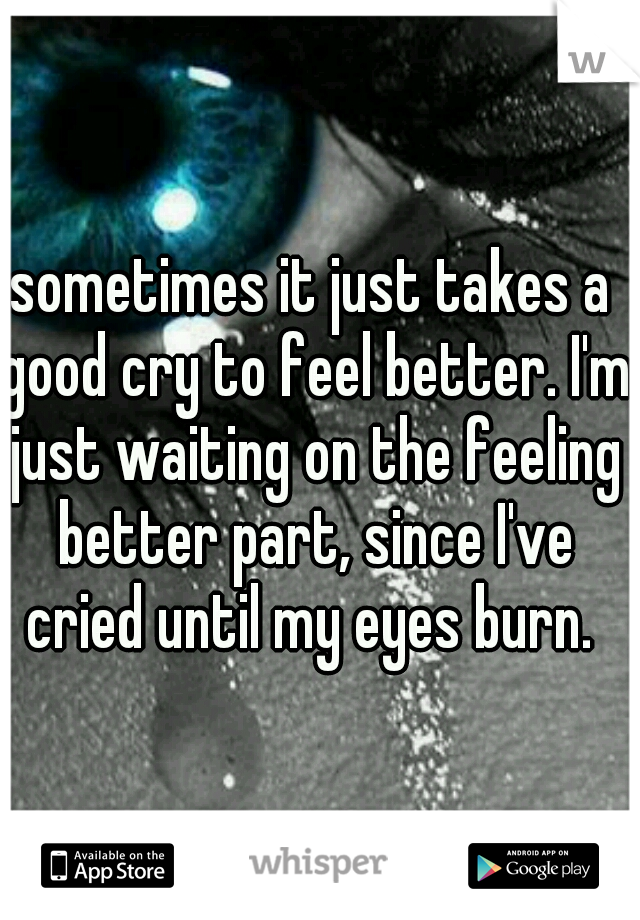 sometimes it just takes a good cry to feel better. I'm just waiting on the feeling better part, since I've cried until my eyes burn.