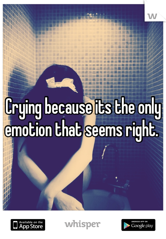Crying because its the only emotion that seems right.