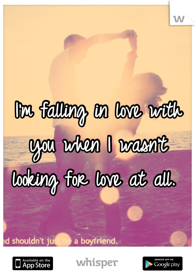 I'm falling in love with you when I wasn't looking for love at all.