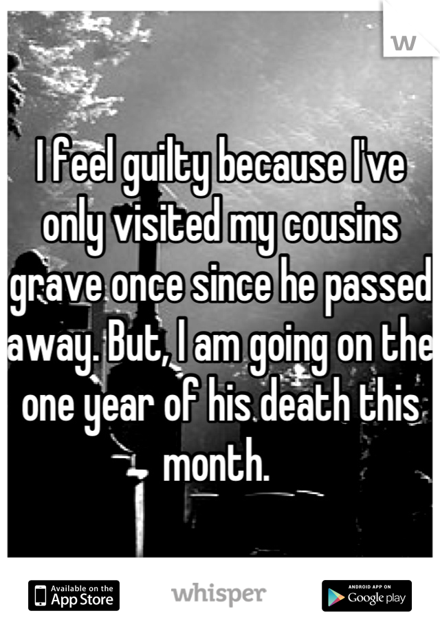 I feel guilty because I've only visited my cousins grave once since he passed away. But, I am going on the one year of his death this month.