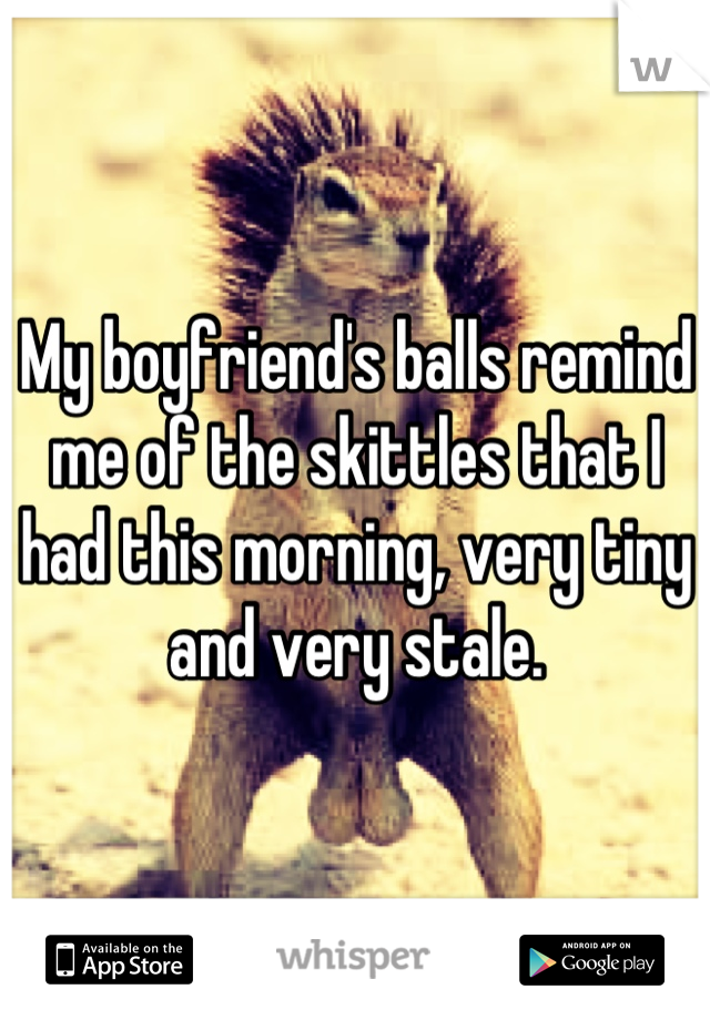 My boyfriend's balls remind me of the skittles that I had this morning, very tiny and very stale.