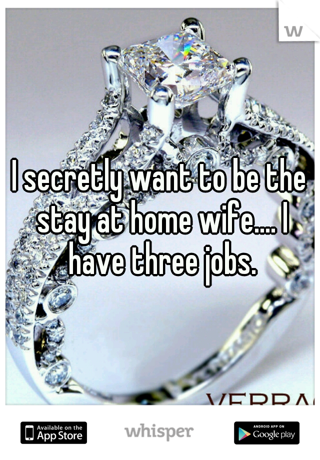 I secretly want to be the stay at home wife.... I have three jobs.
