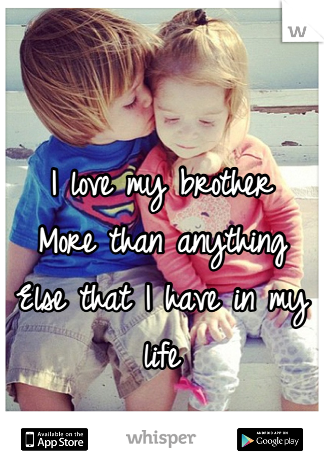 I love my brother More than anything Else that I have in my life