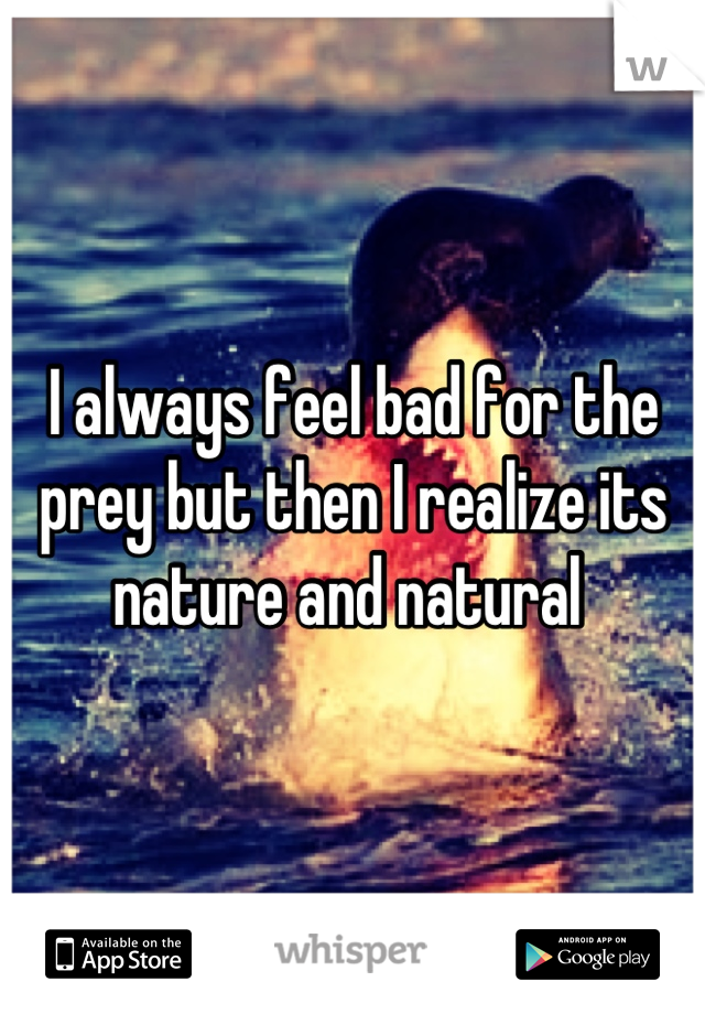 I always feel bad for the prey but then I realize its nature and natural