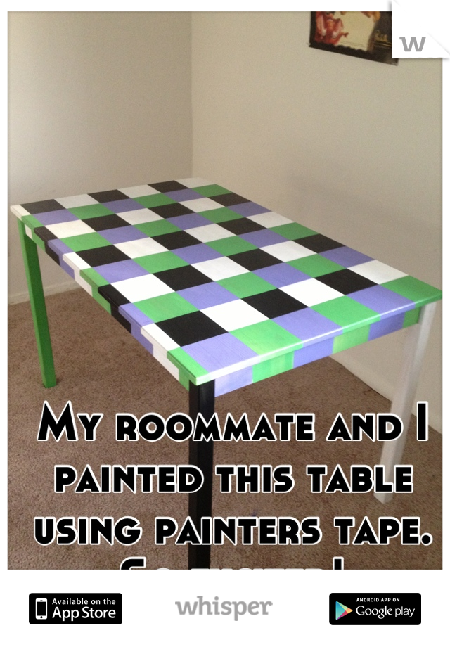 My roommate and I painted this table using painters tape. So excited!