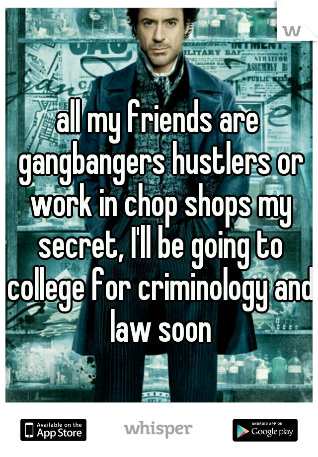 all my friends are gangbangers hustlers or work in chop shops my secret, I'll be going to college for criminology and law soon