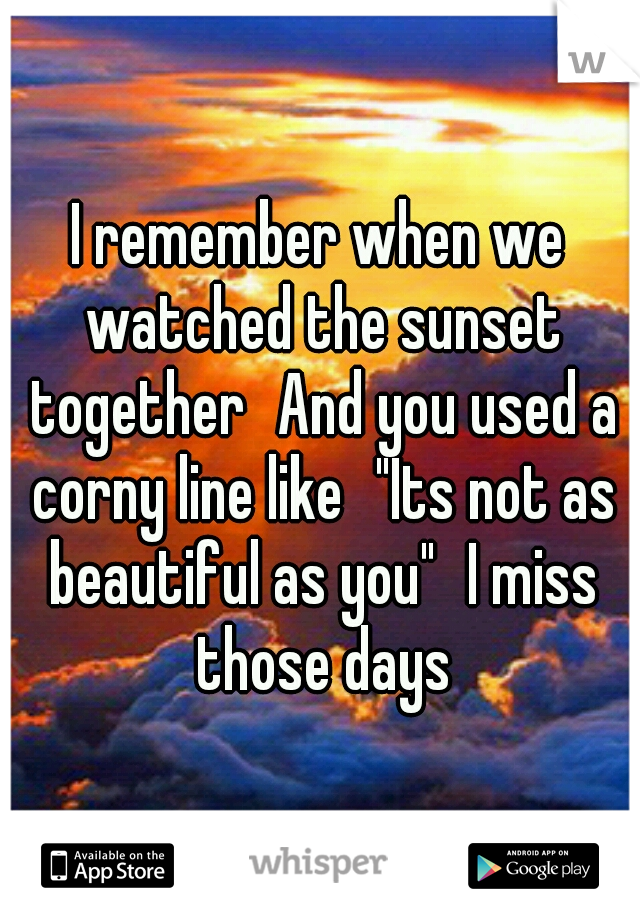 """I remember when we watched the sunset together And you used a corny line like """"Its not as beautiful as you"""" I miss those days"""