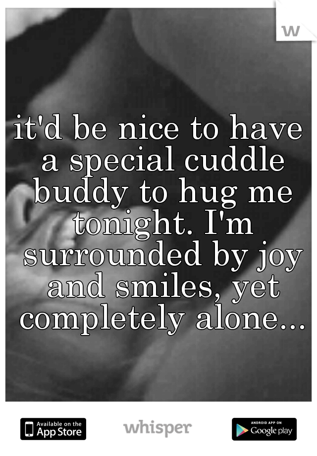 it'd be nice to have a special cuddle buddy to hug me tonight. I'm surrounded by joy and smiles, yet completely alone...
