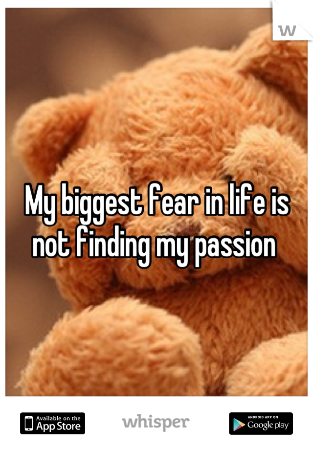 My biggest fear in life is not finding my passion