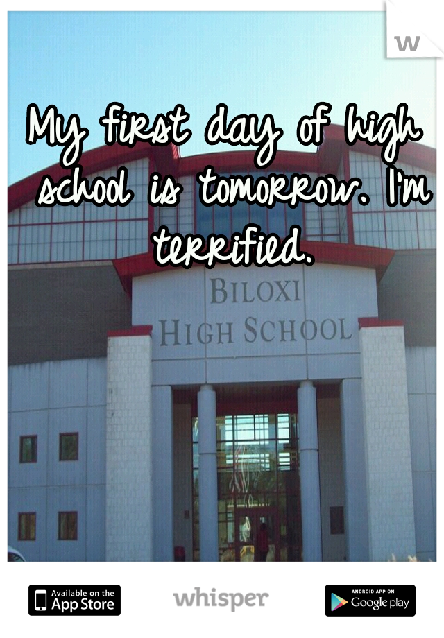 My first day of high school is tomorrow. I'm terrified.