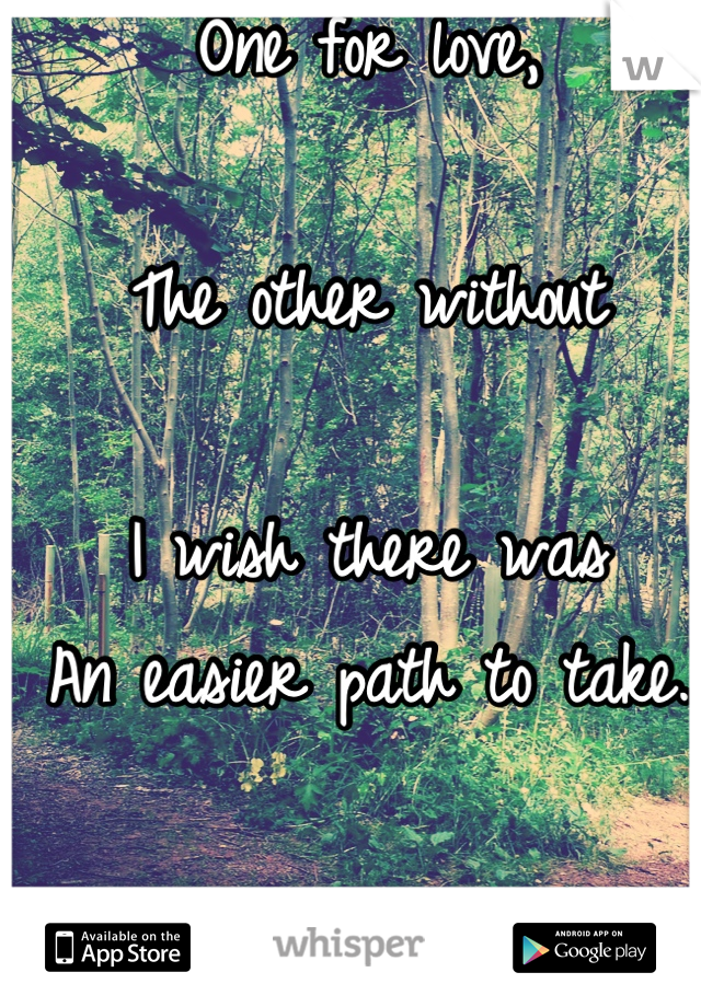 One for love,  The other without  I wish there was An easier path to take.