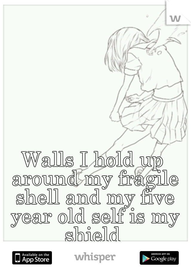 Walls I hold up around my fragile shell and my five year old self is my shield