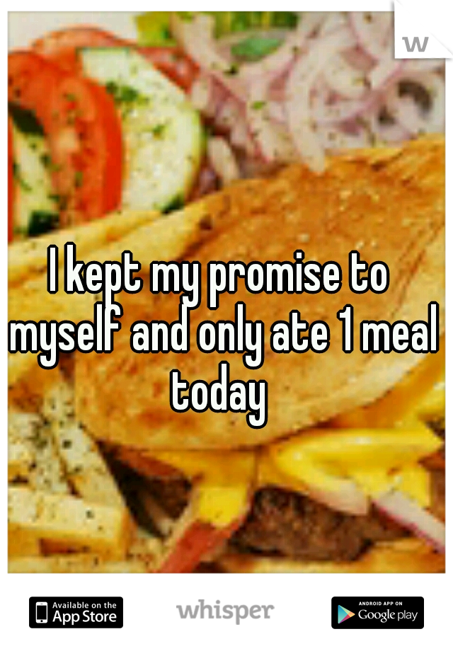 I kept my promise to myself and only ate 1 meal today