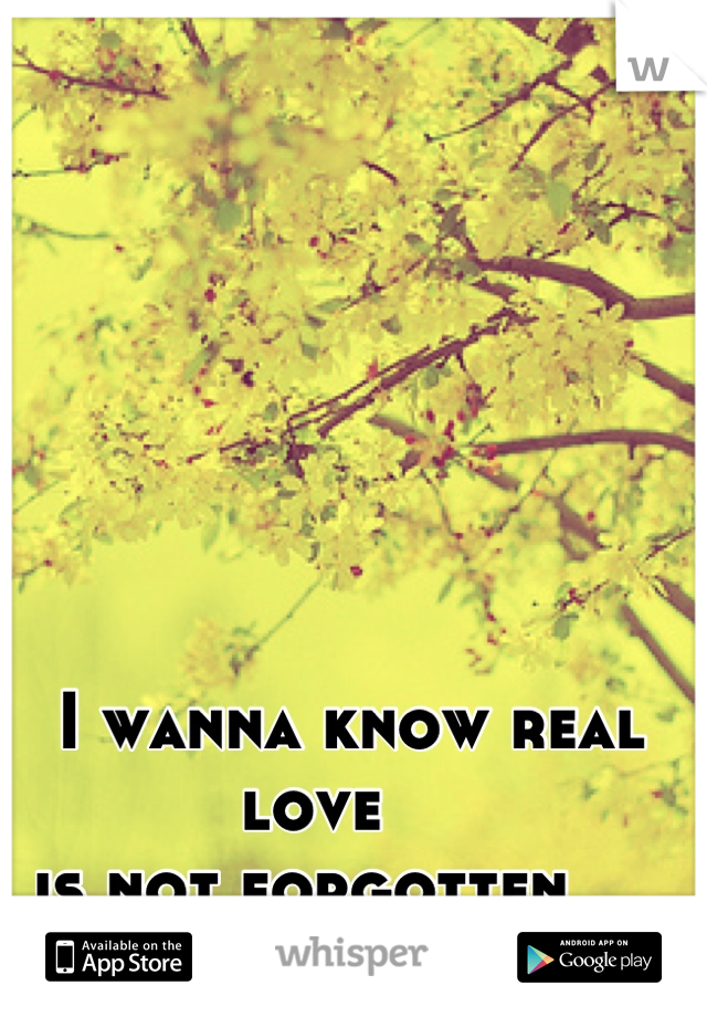 I wanna know real love                           is not forgotten