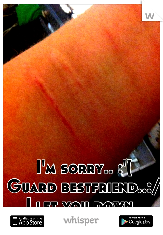 I'm sorry.. :'(  Guard bestfriend..:/ I let you down..