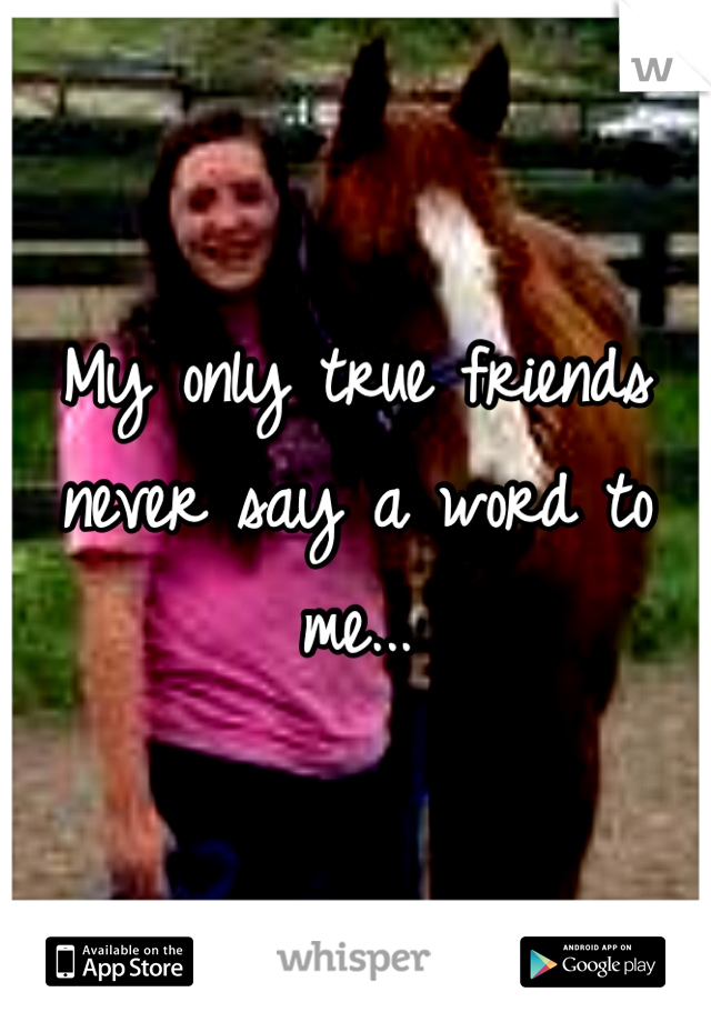 My only true friends never say a word to me...