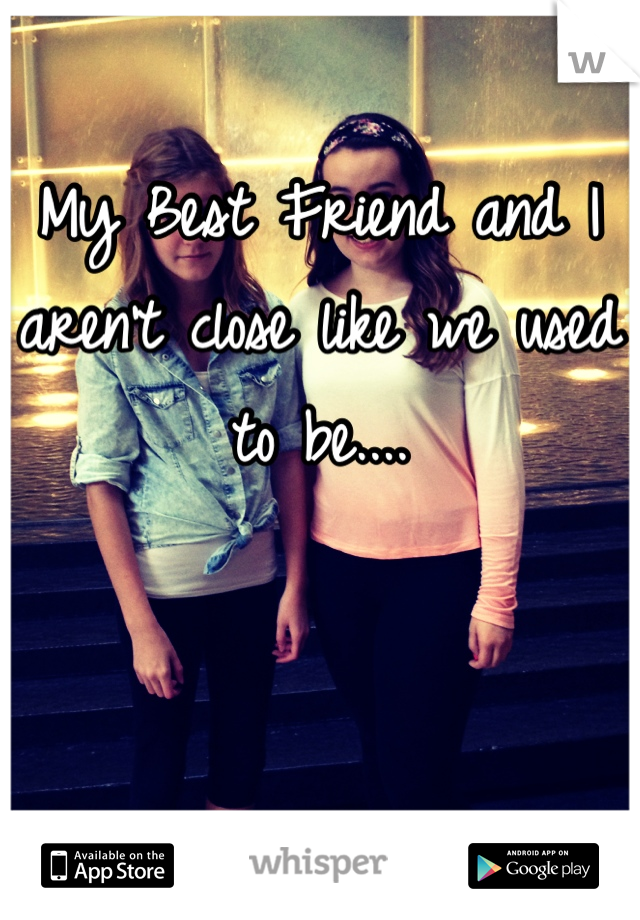 My Best Friend and I aren't close like we used to be....