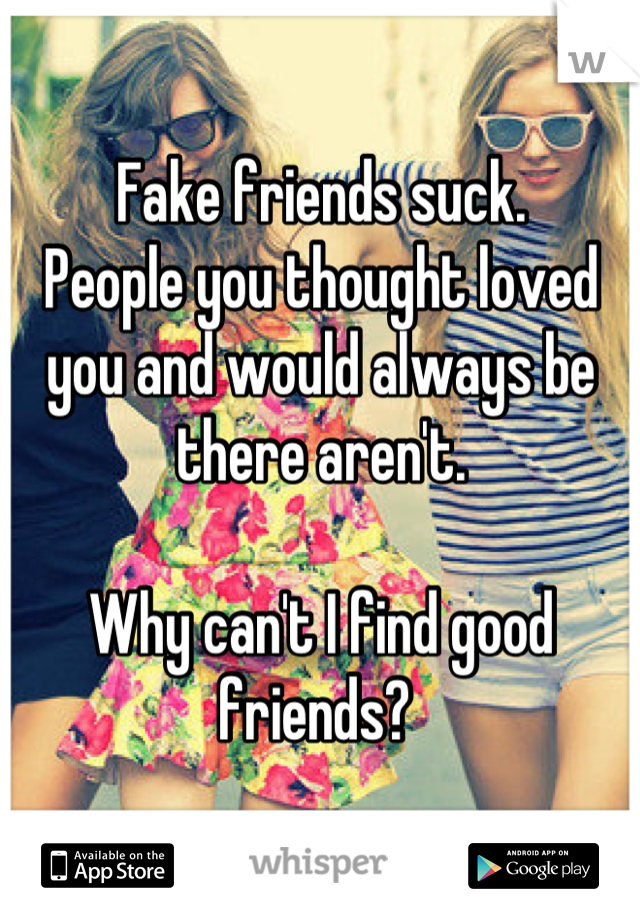 Fake friends suck.  People you thought loved you and would always be there aren't.   Why can't I find good friends?