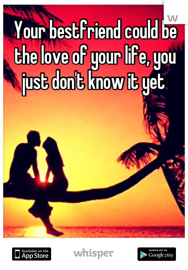 Your bestfriend could be the love of your life, you just don't know it yet