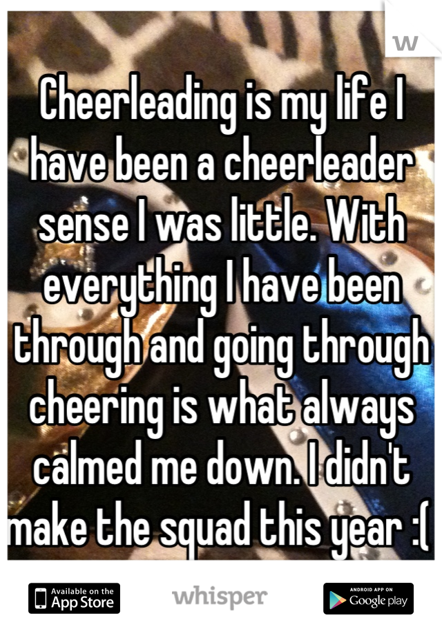 Cheerleading is my life I have been a cheerleader sense I was little. With everything I have been through and going through cheering is what always calmed me down. I didn't make the squad this year :(