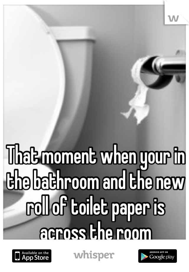 That moment when your in the bathroom and the new roll of toilet paper is across the room