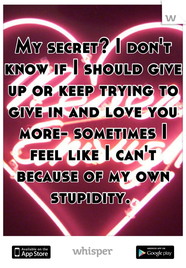 My secret? I don't know if I should give up or keep trying to give in and love you more- sometimes I feel like I can't because of my own stupidity.