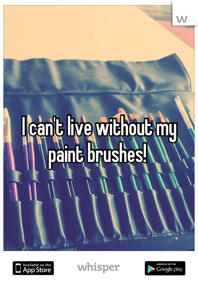 I can't live without my paint brushes!