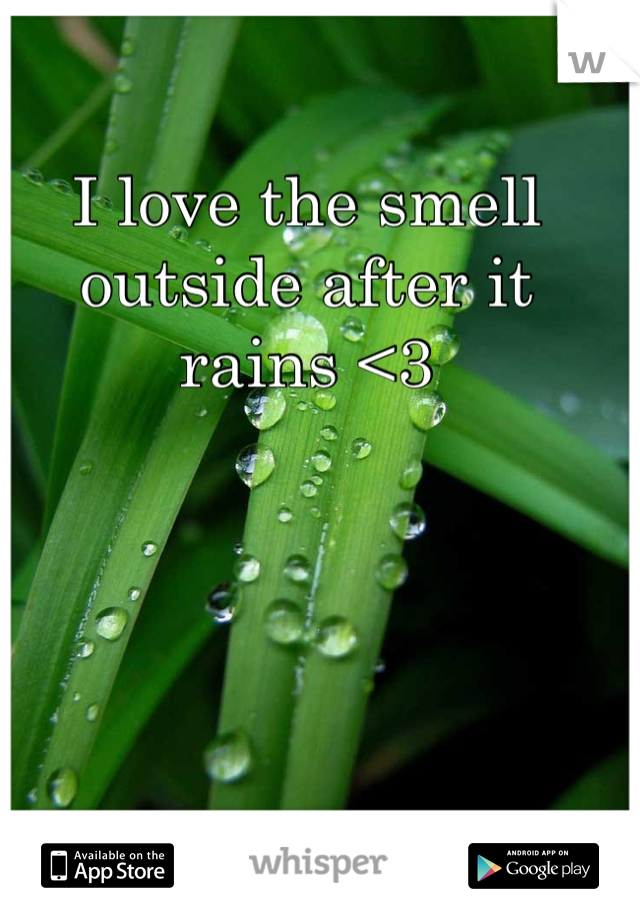 I love the smell outside after it rains <3