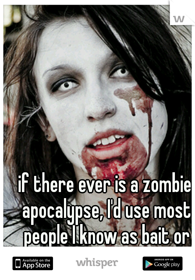 if there ever is a zombie apocalypse, I'd use most people I know as bait or fodder