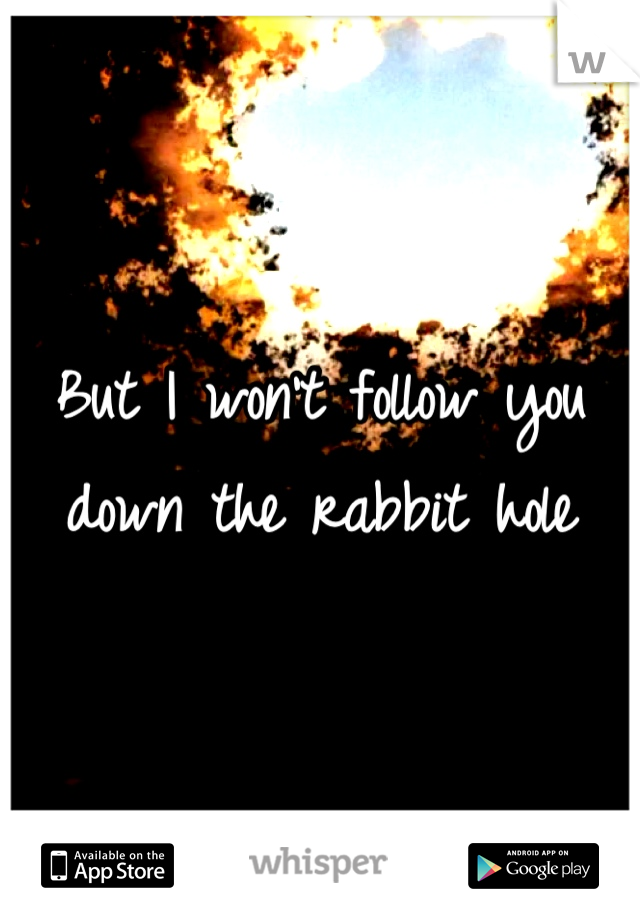 But I won't follow you down the rabbit hole