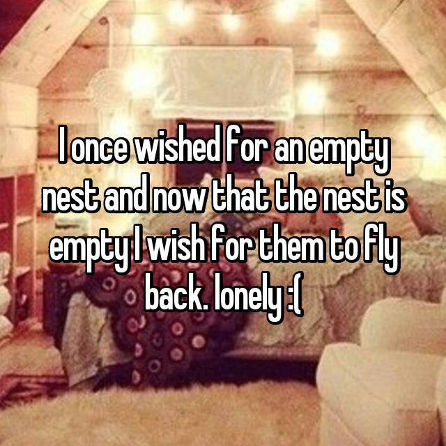 I once wished for an empty nest and now that the nest is empty I wish for them to fly back. lonely :(