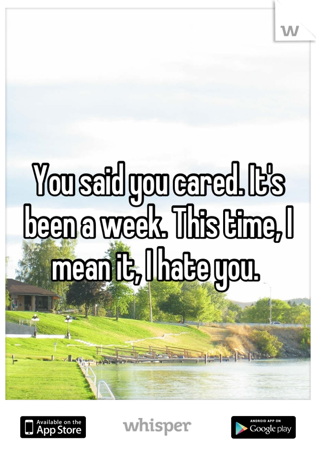 You said you cared. It's been a week. This time, I mean it, I hate you.