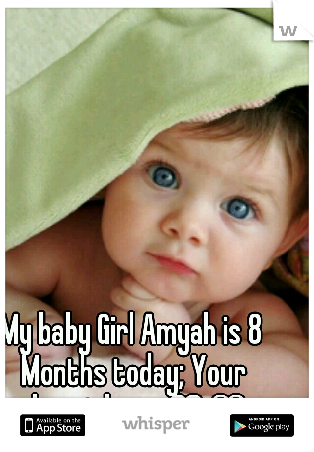 My baby Girl Amyah is 8 Months today; Your almost here ♥♡