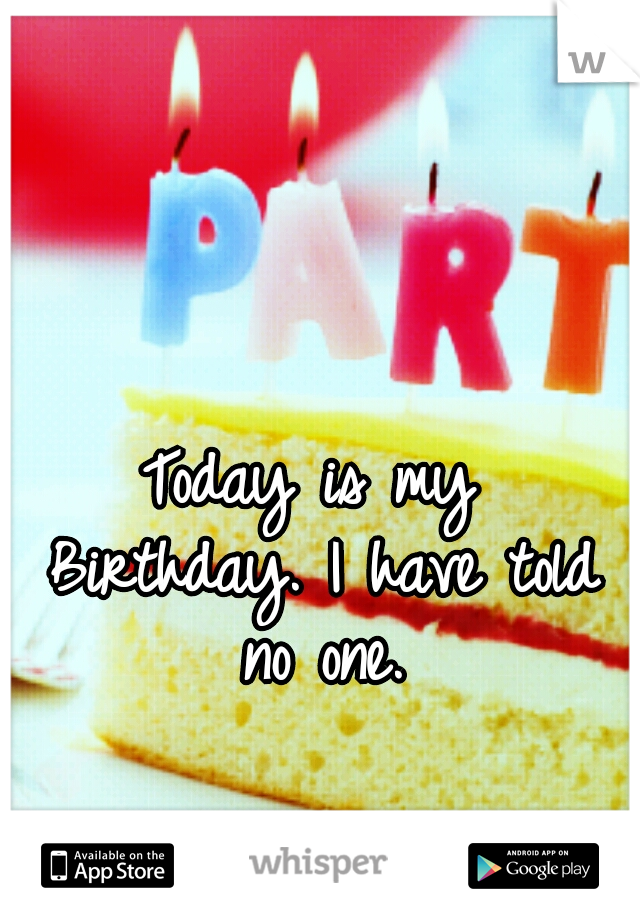 Today is my Birthday. I have told no one.