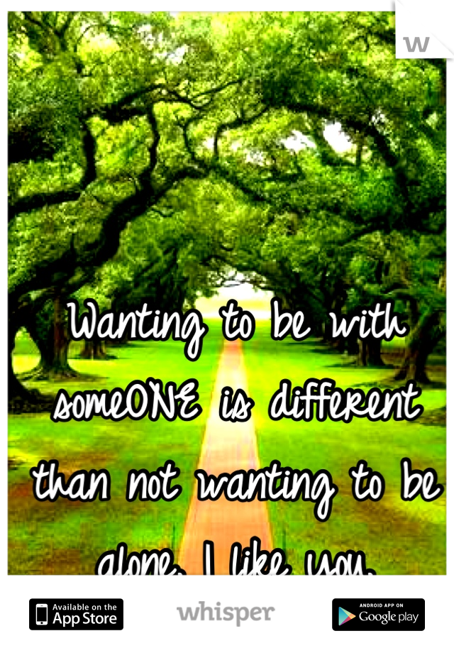 Wanting to be with someONE is different than not wanting to be alone. I like you.
