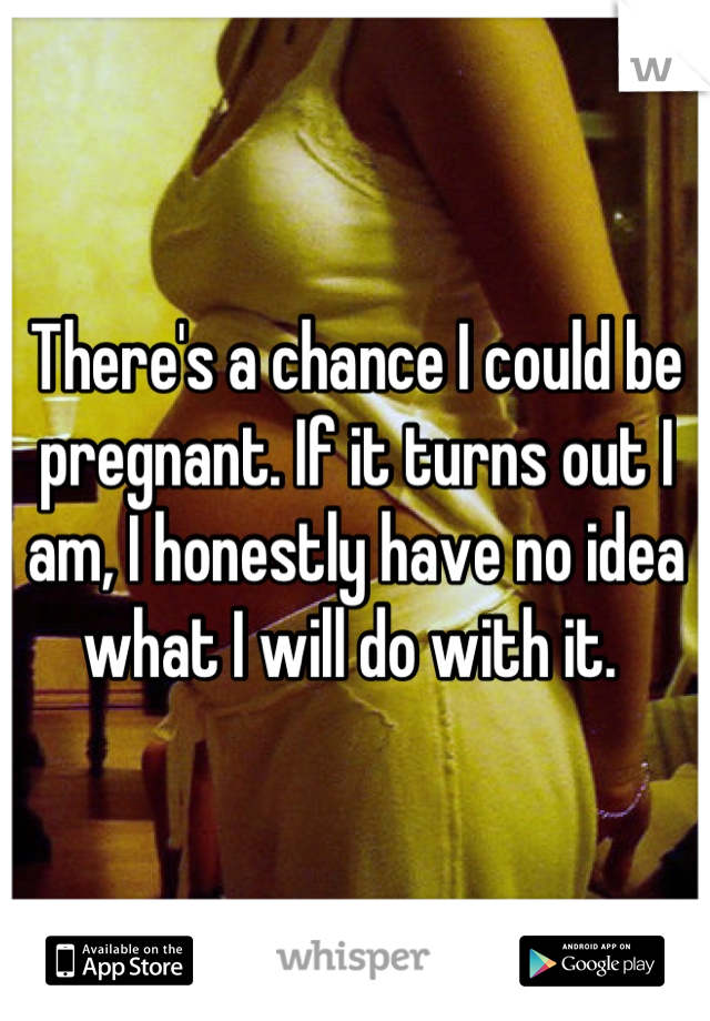 There's a chance I could be pregnant. If it turns out I am, I honestly have no idea what I will do with it.