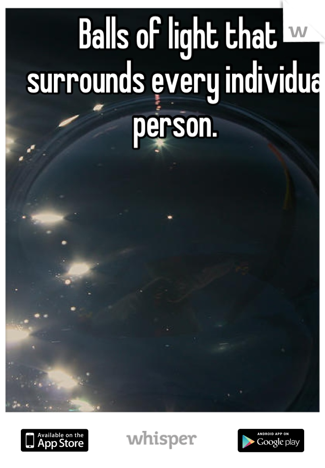 Balls of light that surrounds every individual person.