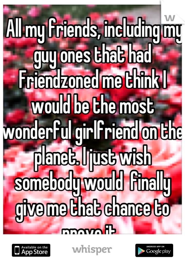 All my friends, including my guy ones that had Friendzoned me think I would be the most wonderful girlfriend on the planet. I just wish somebody would  finally give me that chance to prove it.