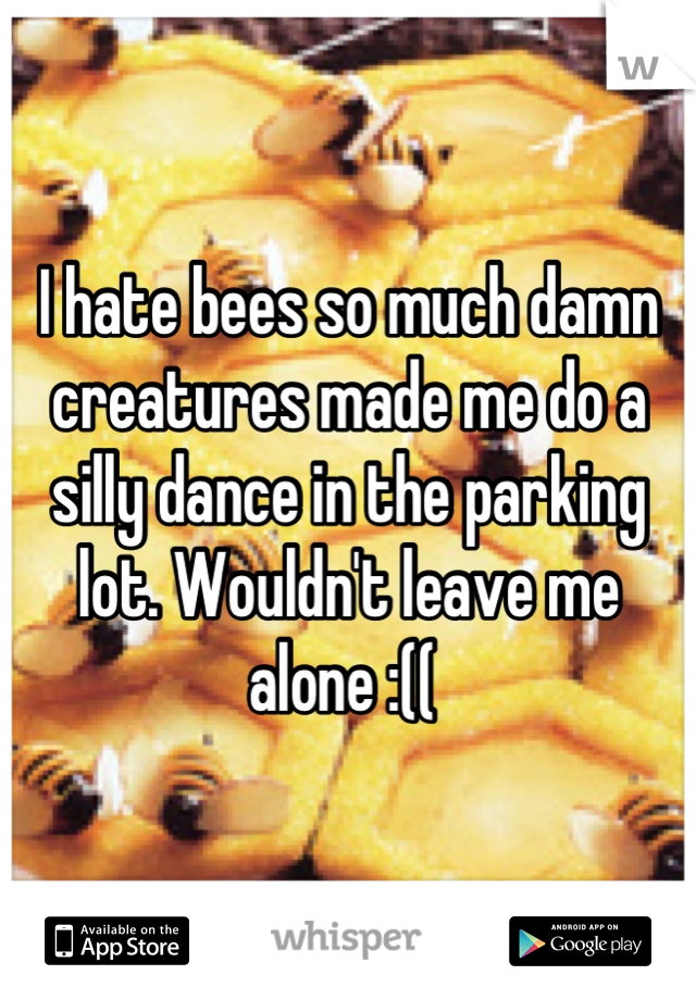 I hate bees so much damn creatures made me do a silly dance in the parking lot. Wouldn't leave me alone :((