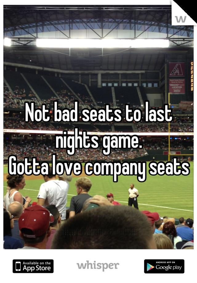 Not bad seats to last nights game.  Gotta love company seats