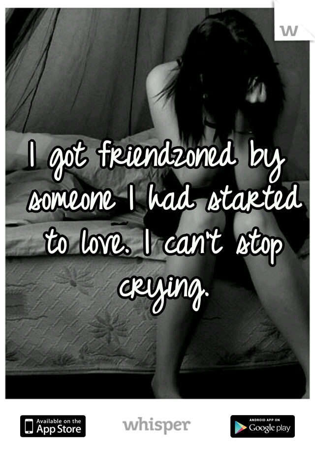 I got friendzoned by someone I had started to love. I can't stop crying.